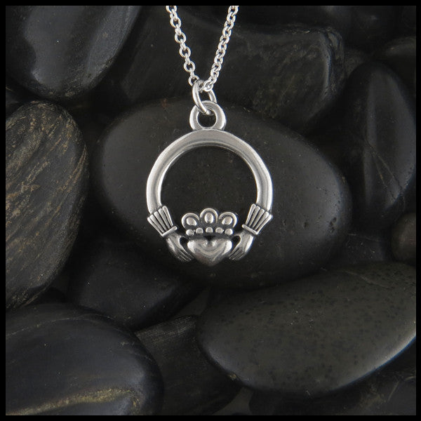 Claddagh pendants in sterling silver walker metalsmiths celtic jewelry claddagh pendant necklace in sterling silver aloadofball Image collections