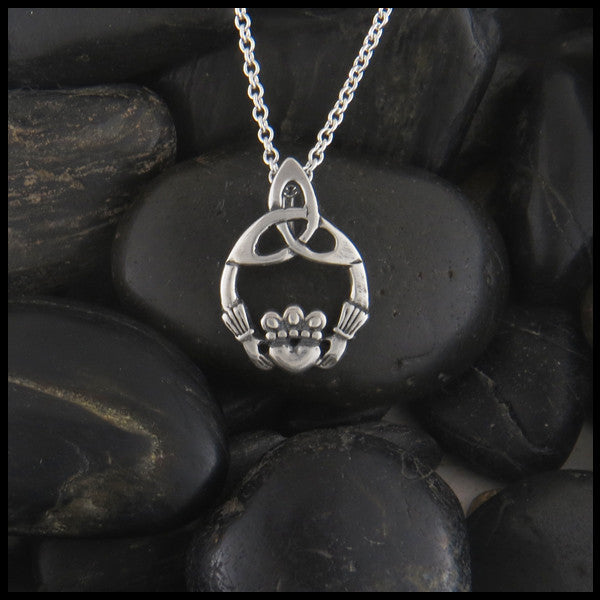 Claddagh Trinity Pendant Necklace in Sterling Silver