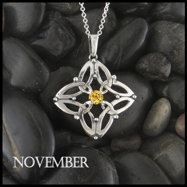 November Birthstone Celtic Trinity Star Pendant