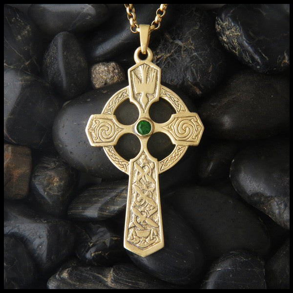 Large Celtic Trinity and Dove Cross in 14K Gold with Gemstones