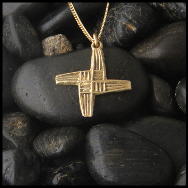 Unique St. Brigid Celtic Cross in 14K Gold