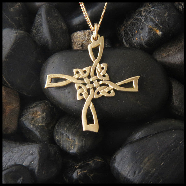 Open Knotwork St Brigid Cross in 14K Gold