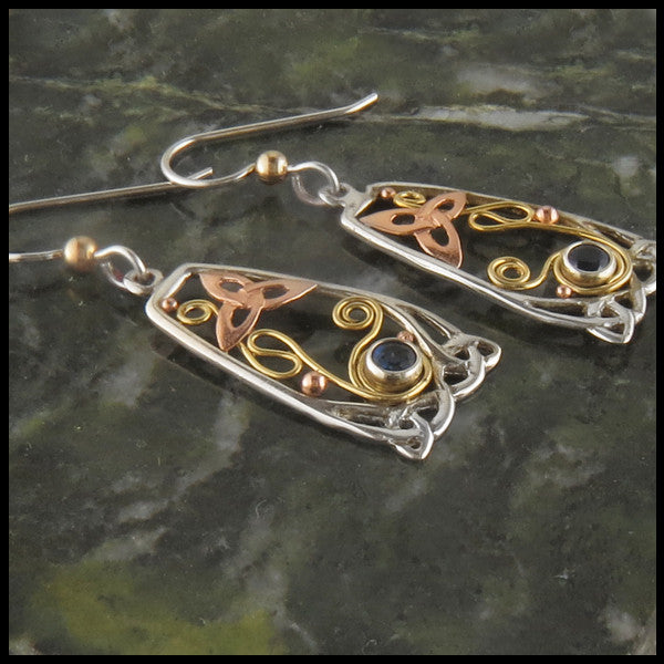 Elegant Celtic drop earrings in Silver and Gold with Sapphires