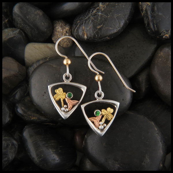 Sterling Silver and Gold Drop earrings with shamrocks, triquetras, and tsavorite garnet