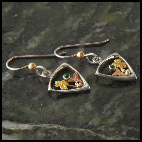 Silver and Gold earrings with shamrocks, triquetras, and tsavorite garnet