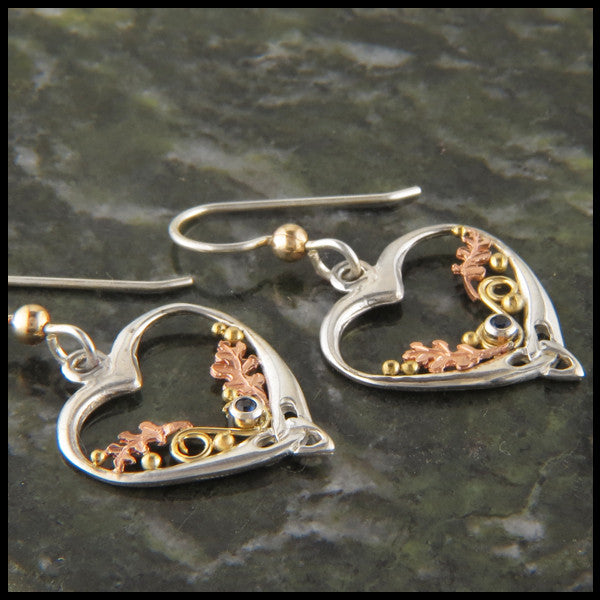 Celtic Heart and Oak leaf drop earrings in Silver and Gold set with gemstones