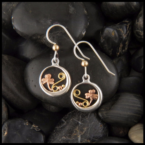 Round Shamrock drop earrings in Sterling Silver and Gold