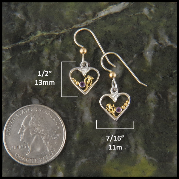 Celtic heart earrings in Sterling Silver and Gold