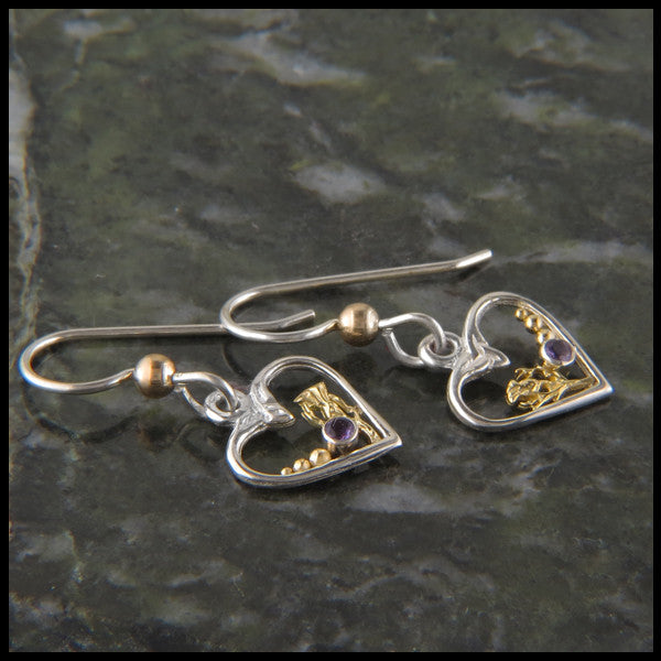Celtic heart drop earrings in Sterling Silver and Gold