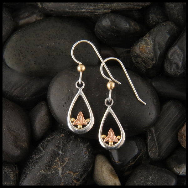 Triquetra Teardrop earrings in Sterling Silver and Gold