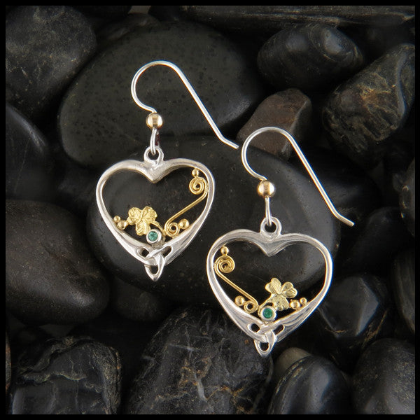 Shamrock earrings in Gold and Silver with Emeralds