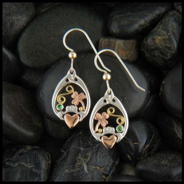 Silver and Gold Claddagh and Shamrock drop earrings
