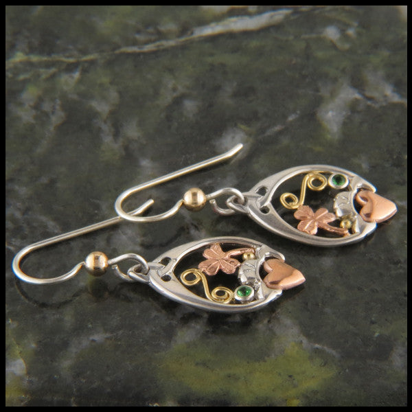 Silver and Gold Claddagh and Shamrock earrings