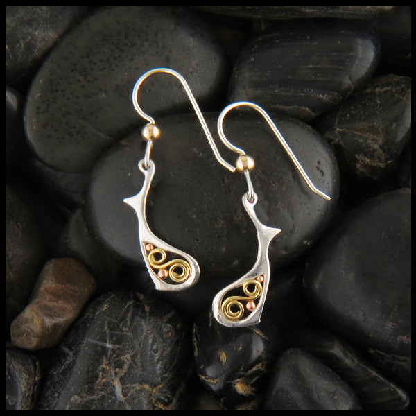 Fish and Spiral Celtic Earrings in Gold and Silver