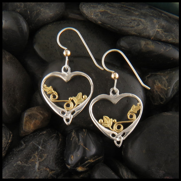 Celtic heart and Ivy Drop earrings in Silver and Gold