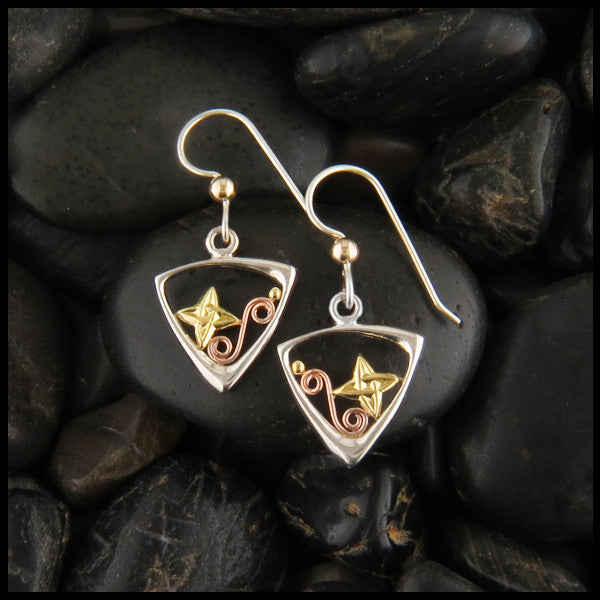 Celtic Drop earrings with stars and Celtic Knots