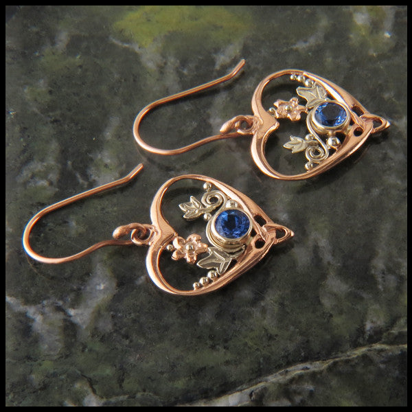Custom Tanzanite with Daisy and Ivy accents pendant and earring set in 14K Gold