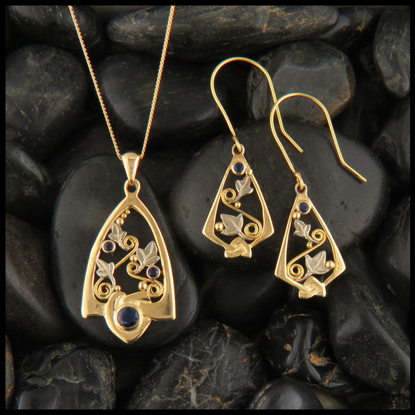 Gold Celtic Pendant and Earring set with Sapphires and Ivy Leaves