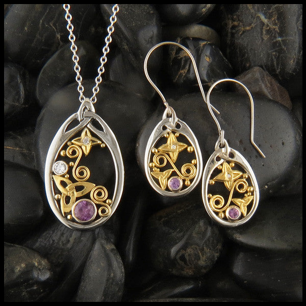 Purple Sapphire Pendant and Earring Set in Gold with Trinity Knots