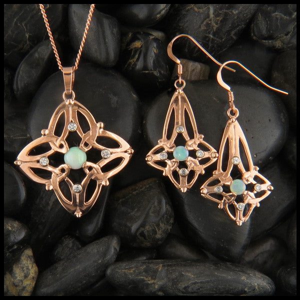 Celtic Triquetra pendant and earring set in 14K Gold with Diamonds and Opals