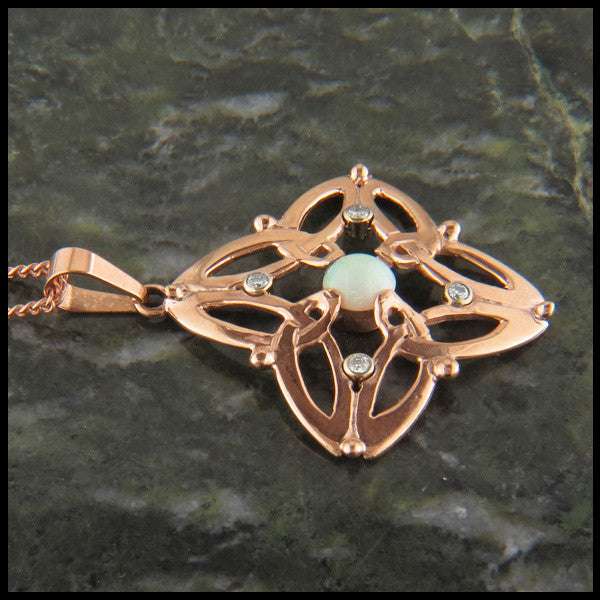 Celtic Triquetra pendant in 14K Gold with Diamonds and Opals