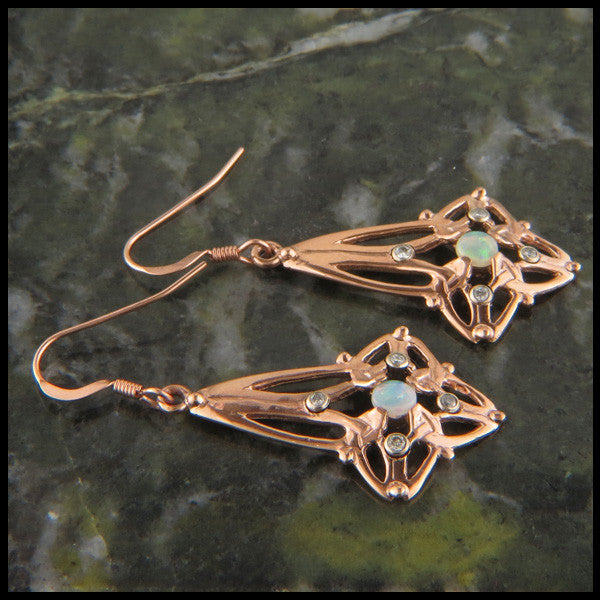 Celtic Triquetra earring set in 14K Gold with Diamonds and Opals