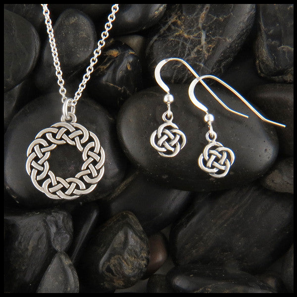 Joesphine's Knot, Lovers Knot, pendant and earring set in Sterling Silver