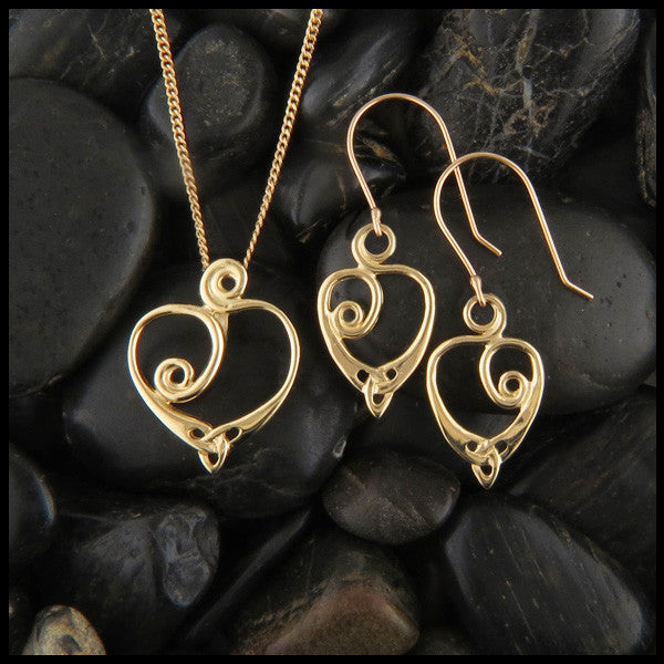 Gold Celtic Spiral Heart pendant and earring set