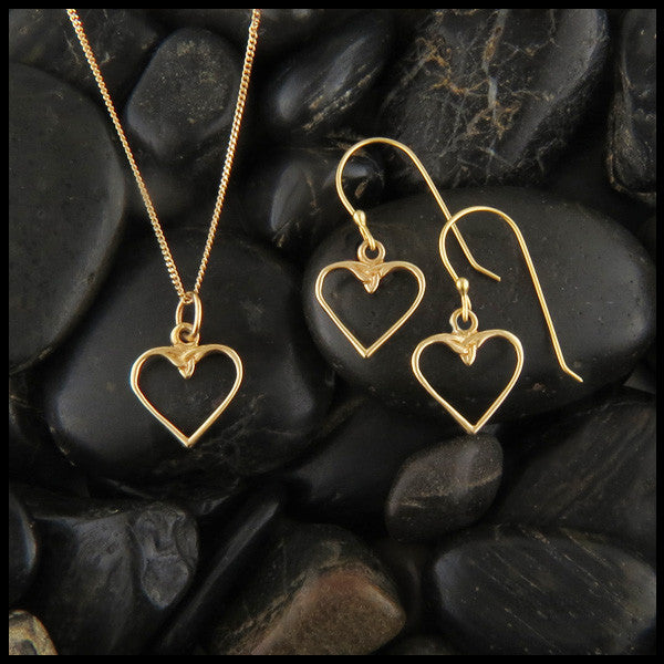 Dainty Celtic Knot Heart pendant and earring set in 14K Gold