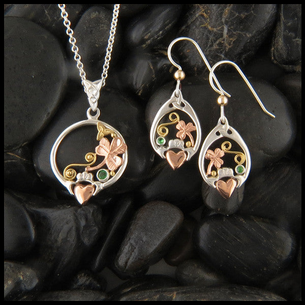 Sterling Silver and Gold Irish Claddagh Pendant Necklace and Drop Earrings
