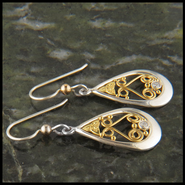 Ornate Gold and Sterling Silver Celtic Pendant and Earring Set with Diamonds
