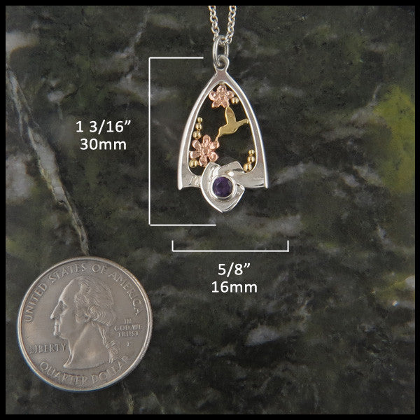 Celtic Knot Hummingbird pendant and earring set in Sterling Silver and Gold