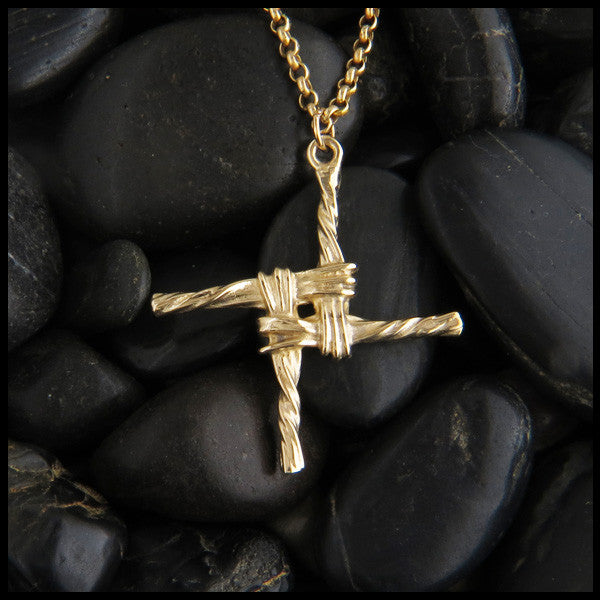 Traditional St Brigid Celtic Cross Necklace in 14K Gold