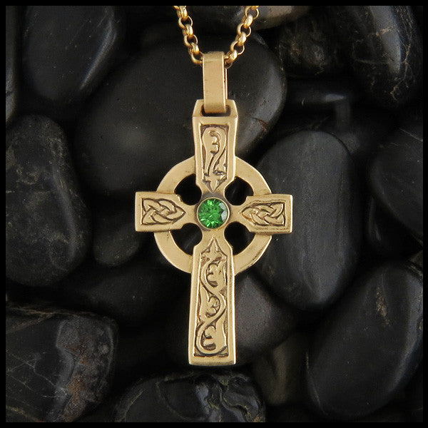 Large Ivy Celtic Cross in 14K Gold with Gemstones