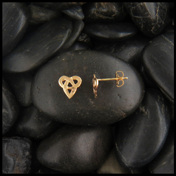 Celtic Knot Heart post earrings in Gold
