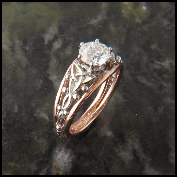 Cathedral Celtic Knot Diamond Rose and White Gold Engagement Ring