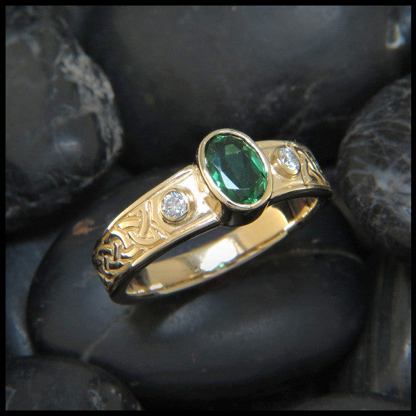 Three Stone Celtic Knot Ring with Gemstones in 14K Gold