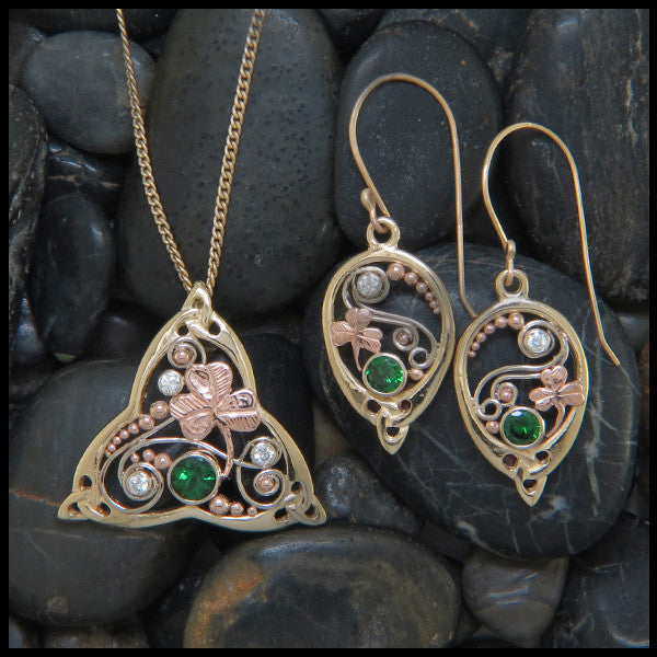 Celtic Tsavorite and diamond drop earrings with shamrocks