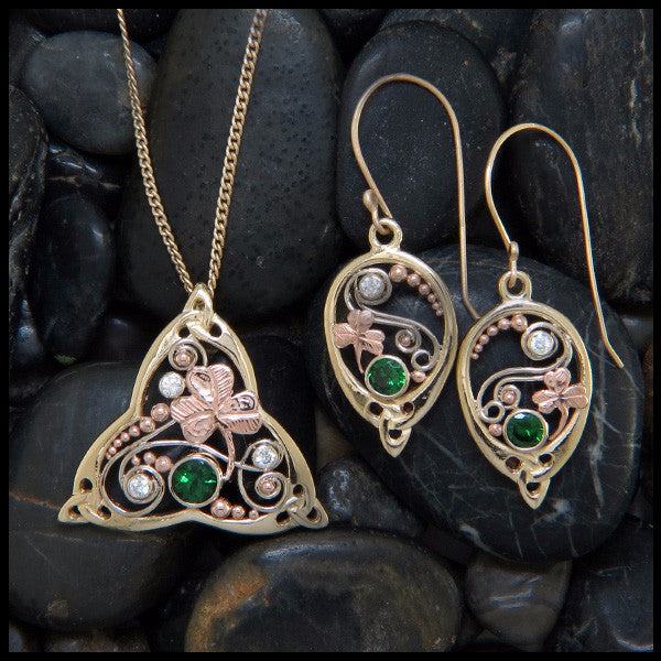 Gold Celtic Pendant and Earring Set with Tsavorite and Diamonds