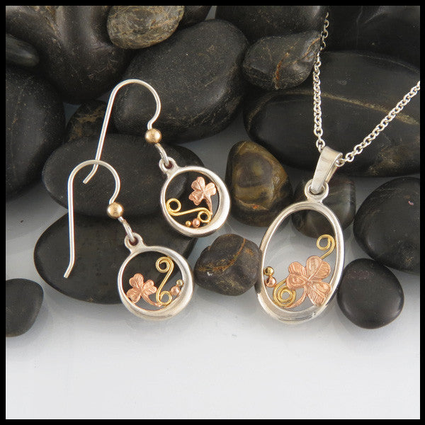 Sterling Silver and Gold Shamrock or Ivy pendant and earring set