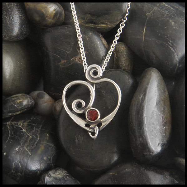 Spiral heart pendant in Sterling Silver with gemstones