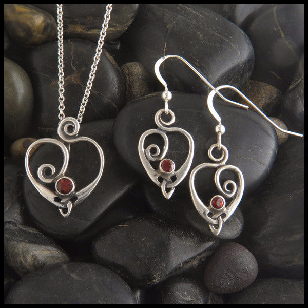 Spiral Celtic Heart pendant and earring set in Sterling Silver with gemstones