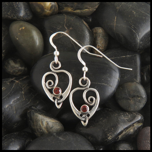 Celtic Heart Spiral Drop earrings in Sterling Silver