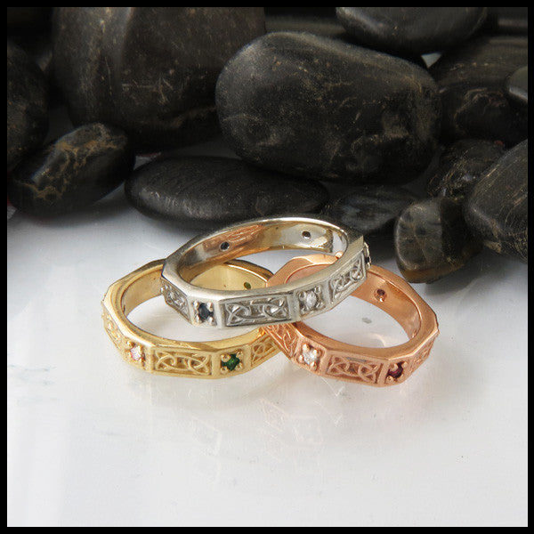 14K Gold Celtic Stacking Ring Band with Gemstones