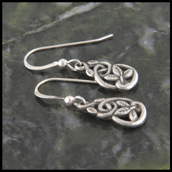Celtic Knot & leaf drop earrings in Sterling Silver