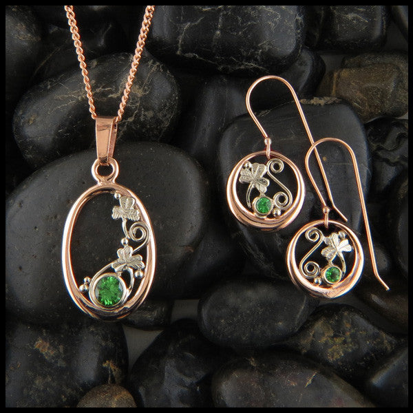 14K Rose and White Gold Celtic Drop earrings with Tsavorite Garnet