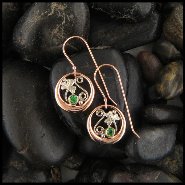 14K Gold pendant and earring set with shamrock details and tsavorite garnet