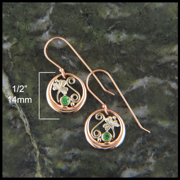 Rose gold Shamrock earrings with tsavorite
