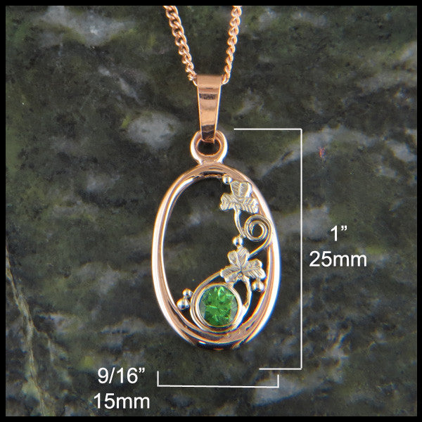 Tsavorite and shamrock pendant and earring set in rose gold walker 14k gold pendant and earring set with shamrock details and tsavorite garnet aloadofball Image collections