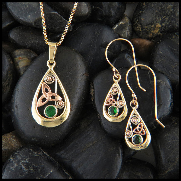 Teardrop pendant and earring set in 14K Gold with Triquetras and Tsavorite
